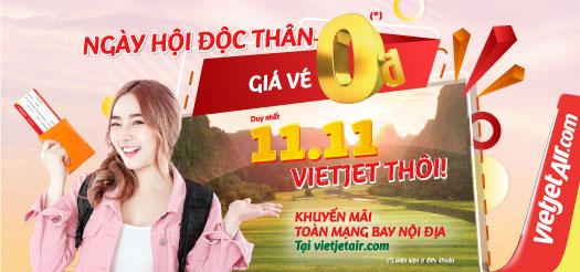 Photo of Vietjet khuyến mãi vé 0 đồng ngày 11-11